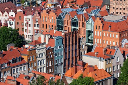 Rows of traditional houses in Old Town of Gdansk city in Poland, Europe, view from above