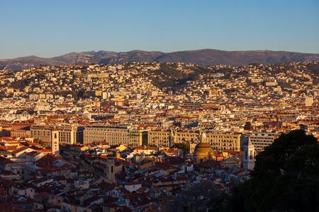 View above Nice city at sunrise, provence Alpes-Maritimes Cote d'Azur. 版權商用圖片