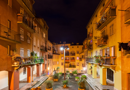 France, Nice city, traditional houses with courtyard in the Old Town (Vieille Ville) at night Editoriali