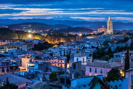 City of Girona at blue hour evening in Catalonia, Spain Reklamní fotografie