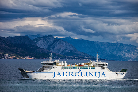Dalmatia, Croatia - 29 september, 2010: Jadrolinija car and passenger ferry on the Adriatic Sea, Croatias largest liner shipping company for maritime transport of passengers and vehicles