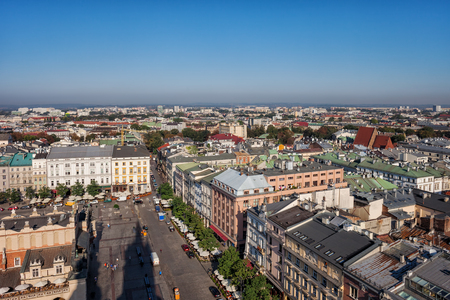 City of Krakow in Poland, aerial view over the Old Town