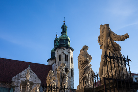Sculptures of saints at Church of the Apostles St. Peter and Paul and Church of St. Andrew in Krakow, Poland