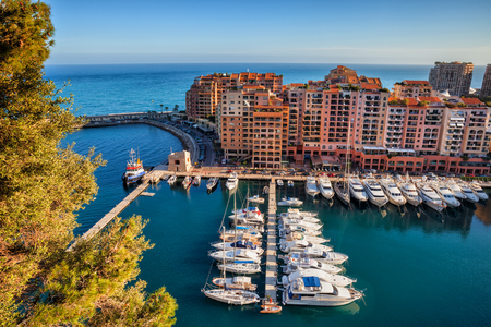 Port de Fontvieille in Monaco on Mediterranean Sea, southern Europe