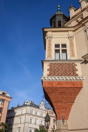 Bay window in corner of Renaissance Cloth Hall (Sukiennice) building in Krakow, Poland