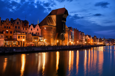 City skyline of Gdansk in Poland, Old Town with reflection in Old Motlawa river.