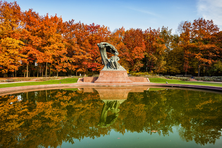 Chopin monument in autumn Lazienki Park in Warsaw, Poland, bronze statue of Polish composer and pianist Frederic Chopin, designed in 1907.