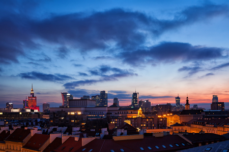 Warsaw downtown skyline at evening twilight, cityscape of the capital city of Poland