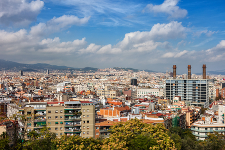 City of Barcelona cityscape in Spain, view from Poble Sec district.