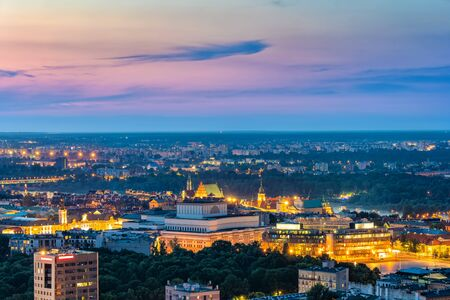 Aerial view of Warsaw in the evening, capital city of Poland cityscape.