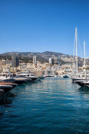 Monaco principality port and skyline, Mediterranean Sea coast, southern Europe.