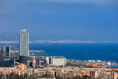Barcelona city skyline with view to the sea in Catalonia, Spain