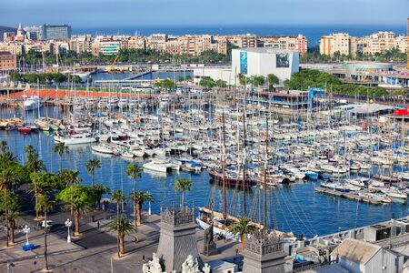 Barcelona, Catalonia, Spain - May 21, 2019: Aerial view over Port Vell marina Stok Fotoğraf - 130000622