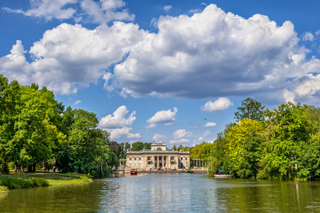 Neoclassical Palace on the Isle and lake in Lazienki Park, city of Warsaw in Poland. Editorial