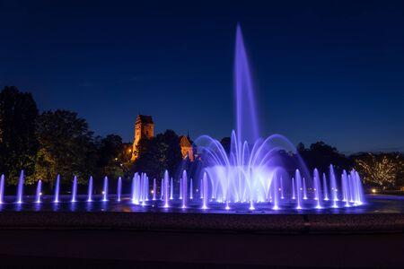 Multimedia Fountain Park night illumination in city of Warsaw, Poland.