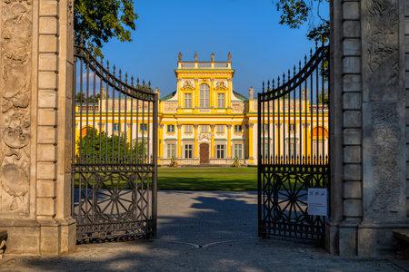 Warsaw, Poland - August 27, 2019: Main gate to Wilanow Palace, Baroque royal residence of King John Sobieski III, 17th century city landmark. Редакционное