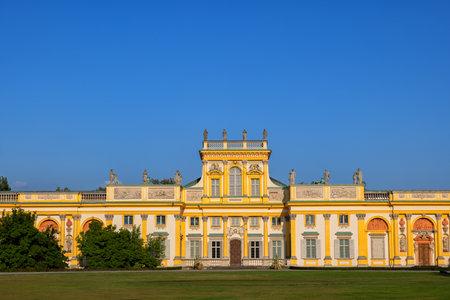 Warsaw, Poland - August 27, 2019: Wilanow Palace (Polish: Palac w Wilanowie), Baroque royal residence of King John III Sobieski, 17th century city landmark.
