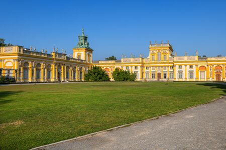 Warsaw, Poland - August 27, 2019: Wilanow Palace (Polish: Palac w Wilanowie), Baroque royal residence of King John Sobieski III, 17th century city landmark.