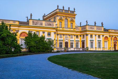 Warsaw, Poland - August 27, 2019: Wilanow Palace (Polish: Palac w Wilanowie) at dusk, Baroque royal residence of King John Sobieski III, 17th century city landmark.