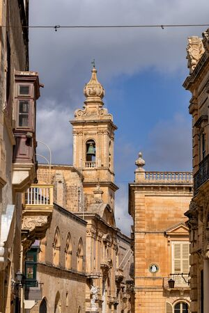 Ancient city of Mdina, the old capital of Malta, Church of the Annunciation bell tower.