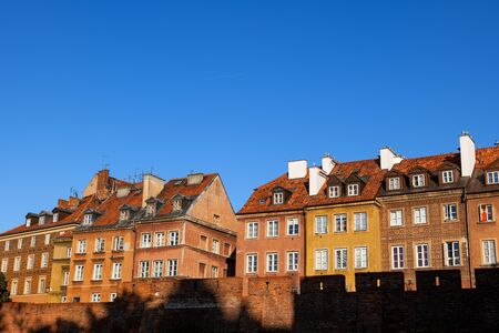 Traditional houses in walled Old Town of Warsaw city in Poland. Stock fotó