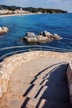 Stairs to the sea in Lloret de Mar, Costa Brava, Catalonia, Spain Archivio Fotografico