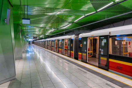 Warsaw, Poland - June 3, 2020: Newly open Metro station Ksiecia Janusza with train at the platform, with no people around Editorial