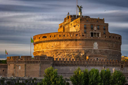 Castle of the Holy Angel - Castel Sant Angelo or Mausoleum of Hadrian at sunset in city of Rome, Italy