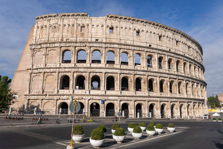 The Colosseum in city of Rome in Italy, ancient Flavian Amphitheatre and gladiators stadium