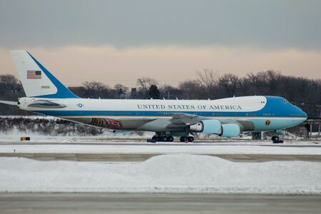 Air Force One Taxiing off the Runway in Milwaukee