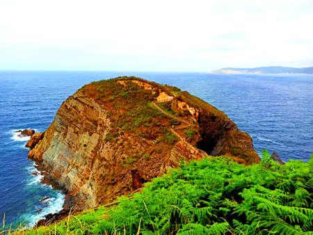 Panoramic view of cliffs seascape. Cape Fuciño do Porco in Lugo, Galicia.