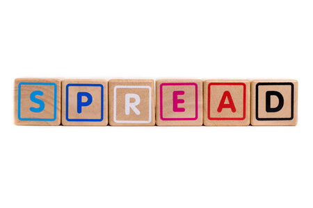 spread the word: Word Spread with colorful blocks and white background