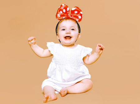 Positive charming little child having fun