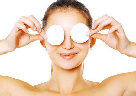 pad: Woman with cotton pads Stock Photo