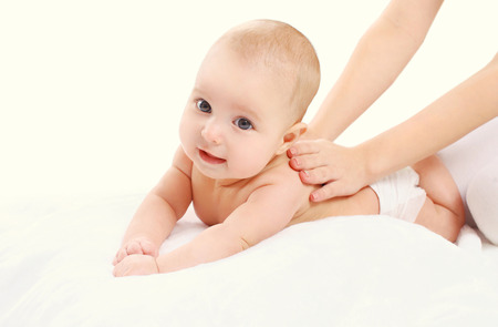Cute baby massage back child and health concept