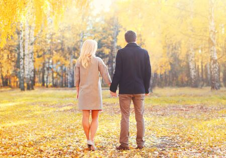 happy family nature: Young couple together holding hands walking in warm sunny autumn day view of back Stock Photo