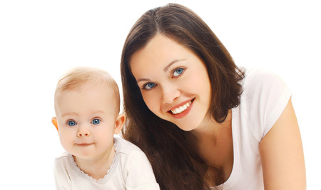Portrait close-up happy smiling mother with her baby isolated on white background