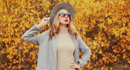 Autumn portrait of beautiful young woman wearing gray coat, round hat posing over yellow leaves background Stok Fotoğraf - 153204696