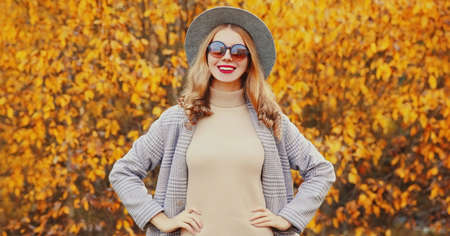 Autumn portrait of beautiful young woman wearing gray coat, round hat posing over yellow leaves background Stok Fotoğraf - 153204697