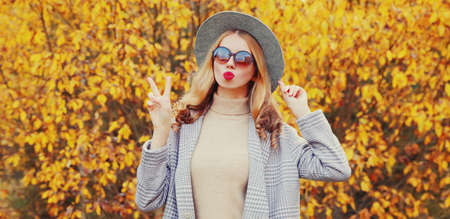Autumn portrait of attractive woman blowing red lips sending sweet air kiss wearing gray coat, round hat on yellow leaves background Stok Fotoğraf - 153204700