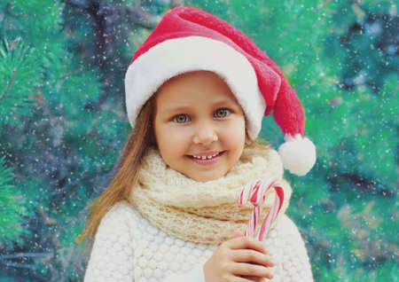 Christmas portrait of smiling little girl child in santa red hat with sweet lollipop cane near a branch tree