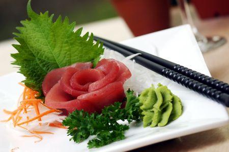 wasabi: Fresh tuna served with wasabi. Shallow DOF. Stock Photo