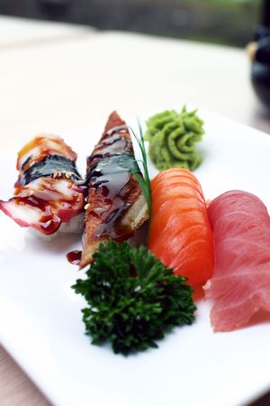 Fresh tuna, atlantic salmon and jumbo shrimp individually hand pressed with rice. Served with wasabi sauce. Shallow DOF.