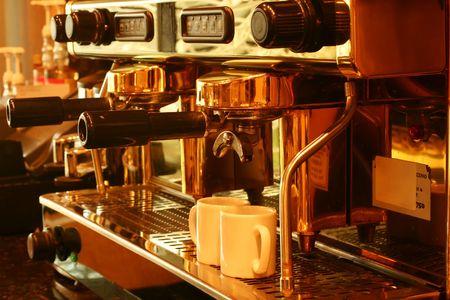 with coffee maker: Retro Style Espresso Coffee Maker Stock Photo