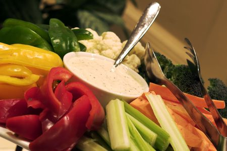 peppercorn: Fresh vegetables served with a peppercorn dressing. Shallow DOF