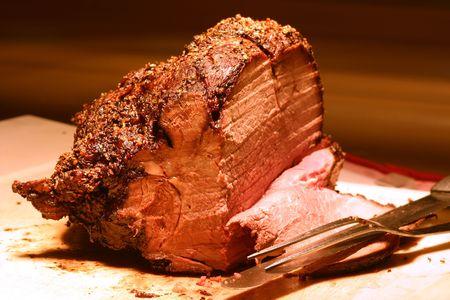 prime rib: Shot of prime rib at a buffet table. Shallow DOF.