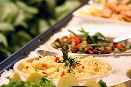 salad buffet: Assortment of speciality salads. Shallow DOF.