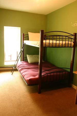 hostel: Shot of a dorm with bunk-beds