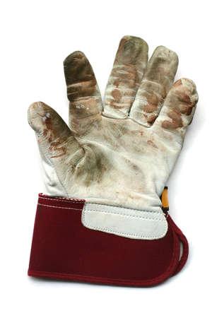 precaution: Used gardening  work gloves - Isolated image on white