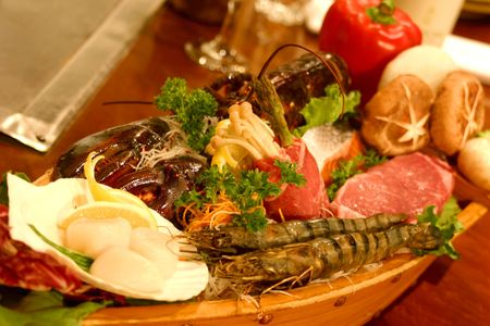 Boat sushi with an assortment of delicacies. Stock Photo - 250108